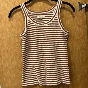 Orange and white striped Madewell tank top